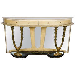 1940s Italian Console Table in Parchment