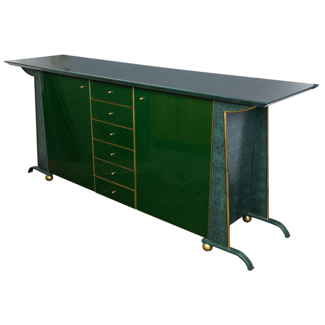 1970s belgium metal and glass sideboard at 1stdibs for Sideboard glas