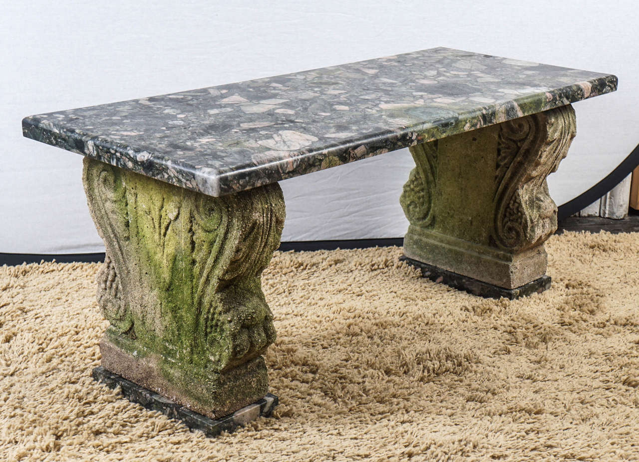 Small marble and cast stone garden bench at 1stdibs Stone garden bench