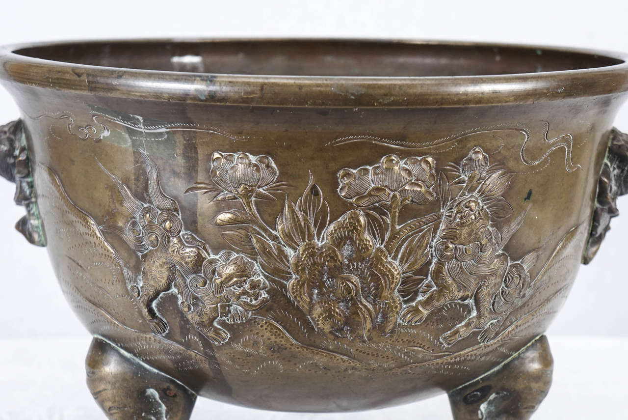 Japanese Late 19th Century Meiji Period Cast Bronze Planter 4