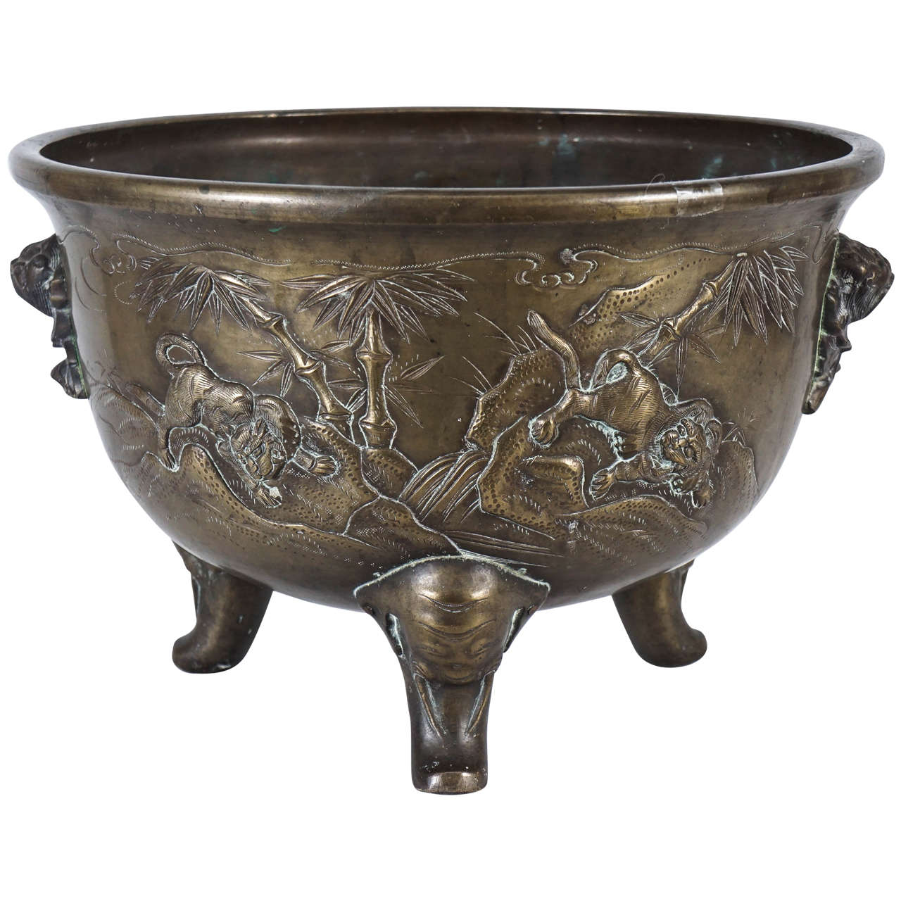 Japanese Late 19th Century Meiji Period Cast Bronze Planter