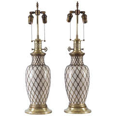 French Brass Wire Wrapped Porcelain Vases Mounted as Oil Lamps