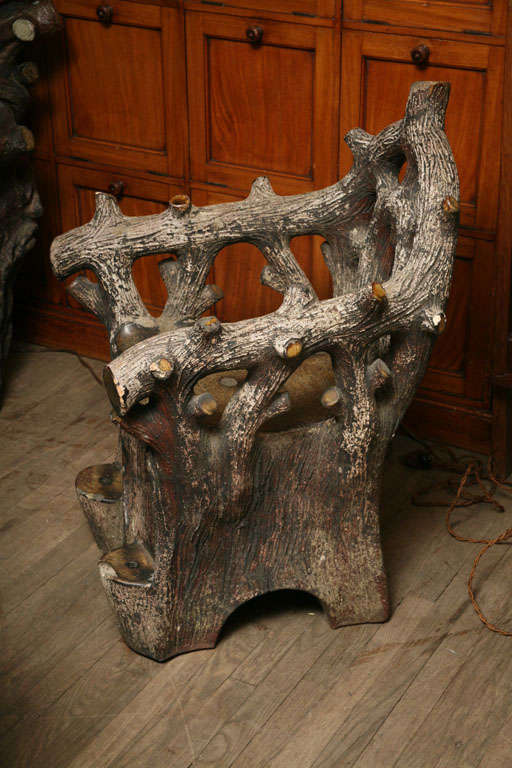 Faux Bois Concrete Garden Chair At 1stdibs