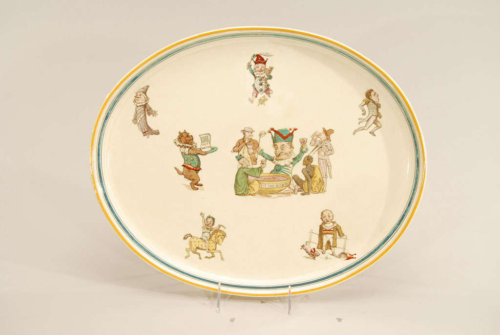This large creamware tray or platter is made by Wedgwood depicting everything