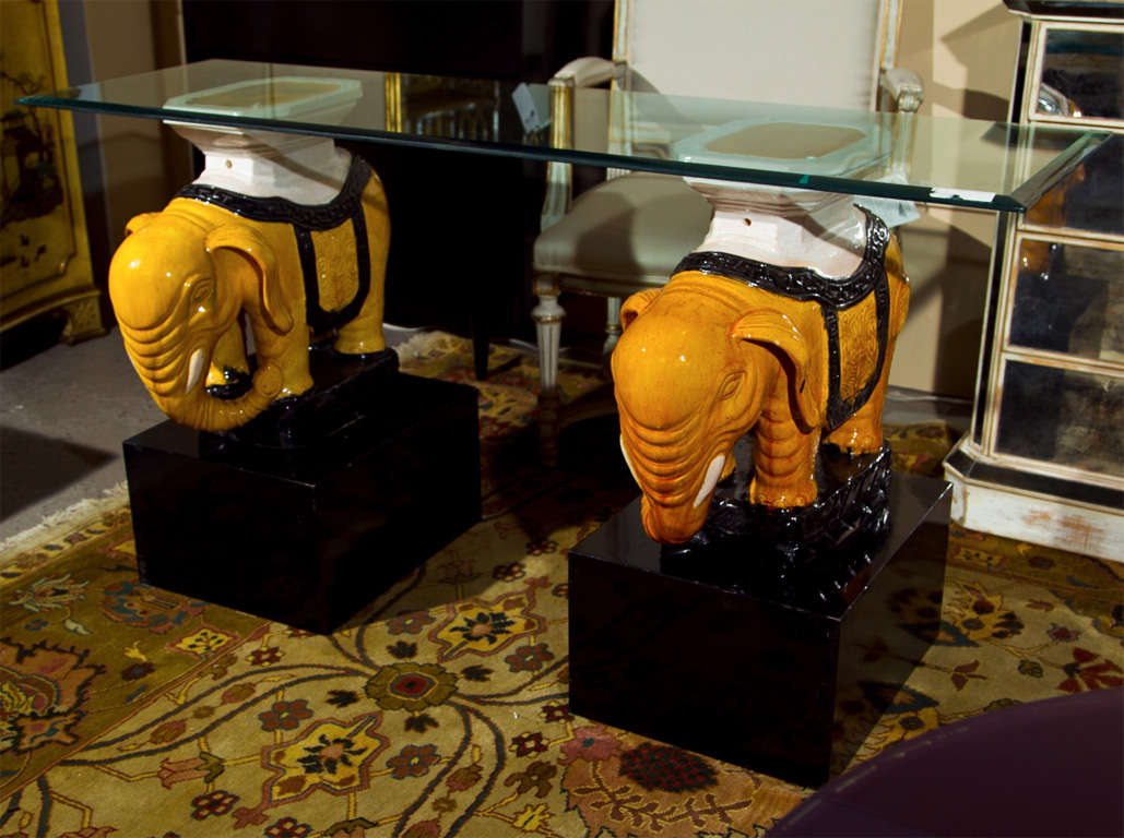 Ceramic Elephant Base Stools As Glass Top Console Table 2