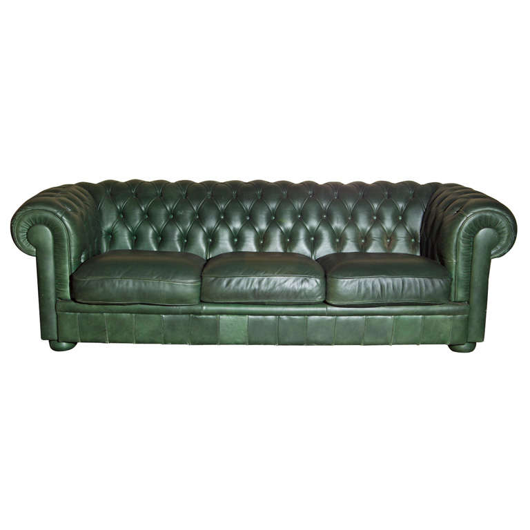 Green leather chesterfield sofa at 1stdibs Green vintage sofa