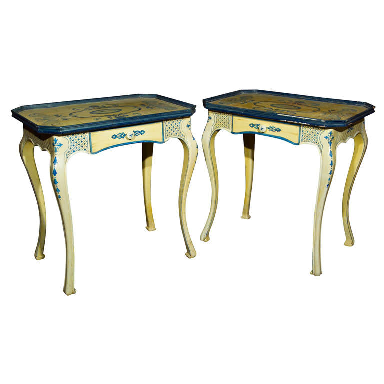 Pair of Painted French Side Tables