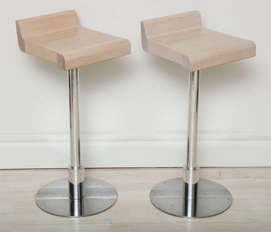 Set Of Four Polished Steel Bar Stools At 1stdibs
