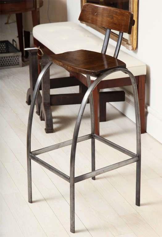 Steel Bar Stool with Wooden Seat and Back image 2