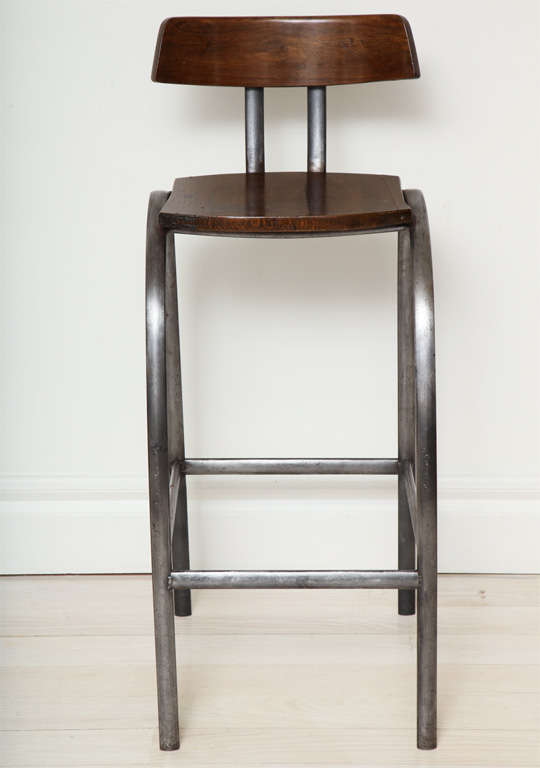Steel Bar Stool with Wooden Seat and Back image 3