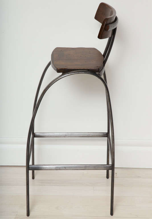 Steel Bar Stool With Wooden Seat And Back At 1stdibs