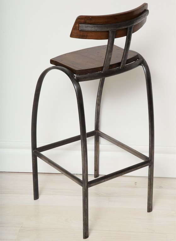 Steel Bar Stool with Wooden Seat and Back image 5