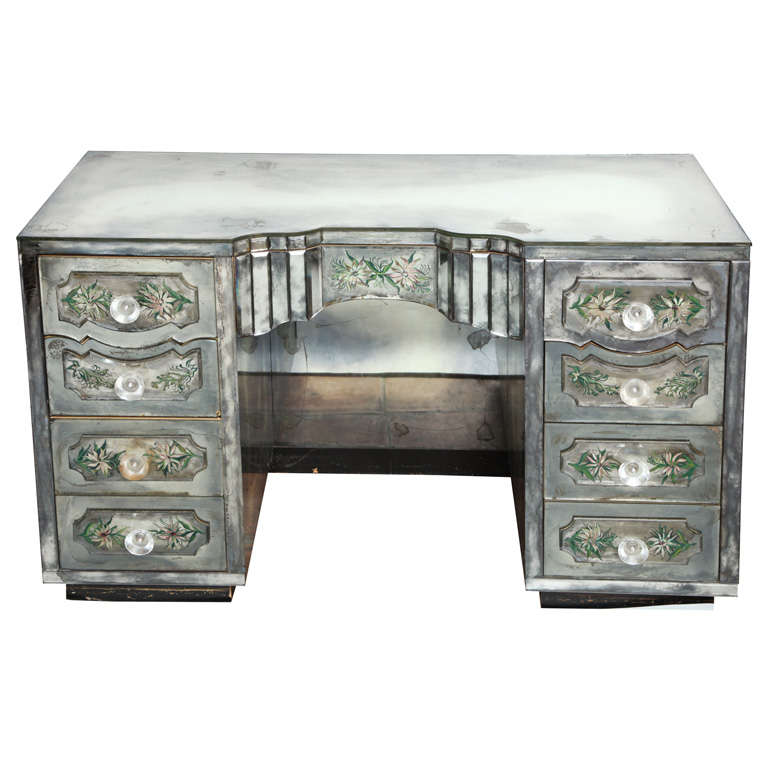 Vintage French Eglomise mirrored desk/vanity 1 - Vintage French Eglomise Mirrored Desk/vanity At 1stdibs