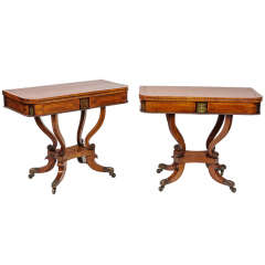 Pair of Early 19th Century Regency Rosewood Card Tables