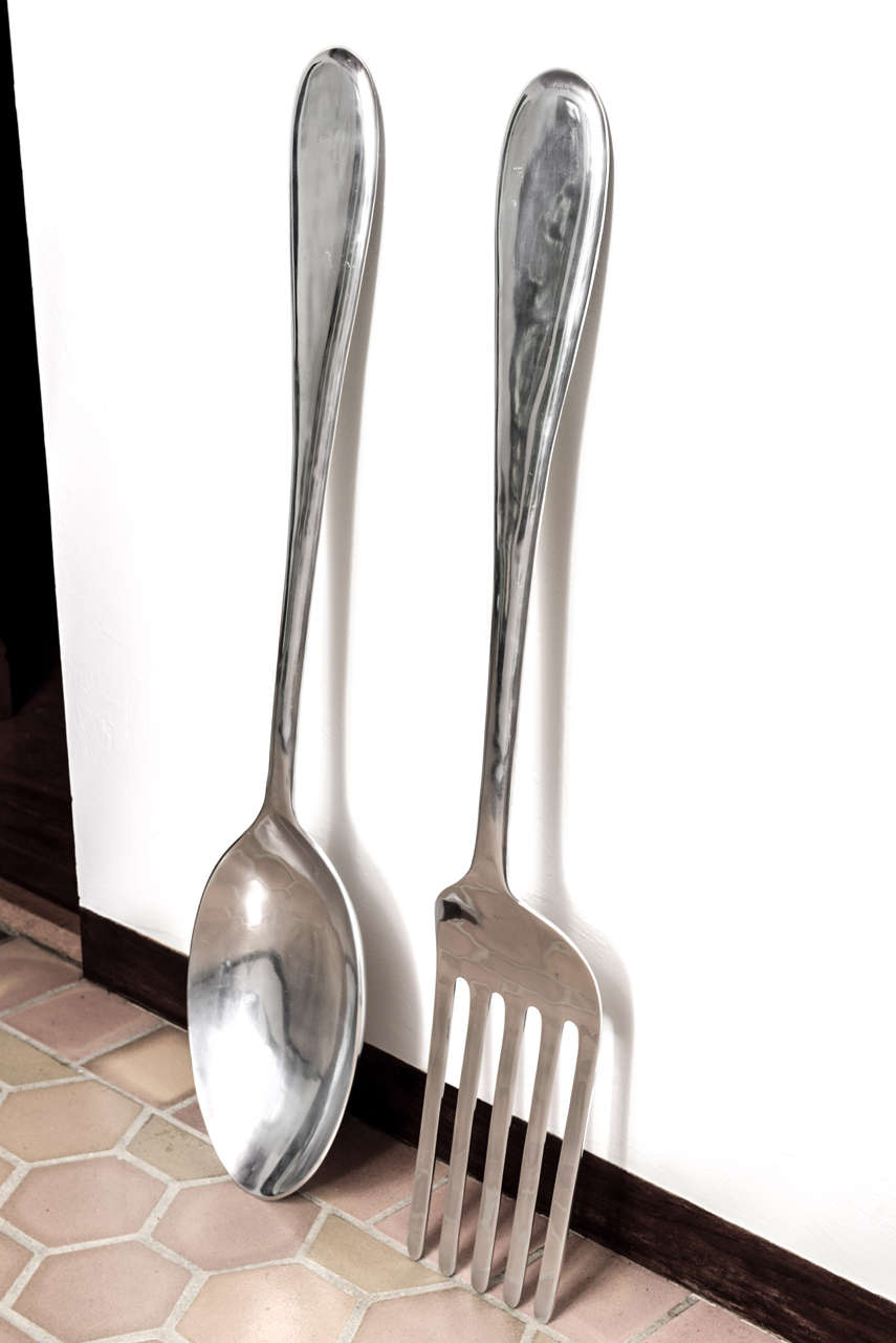 Large Fork And Spoon Wall Decor Large Fork And Spoon Wall Hanging At 1stdibs