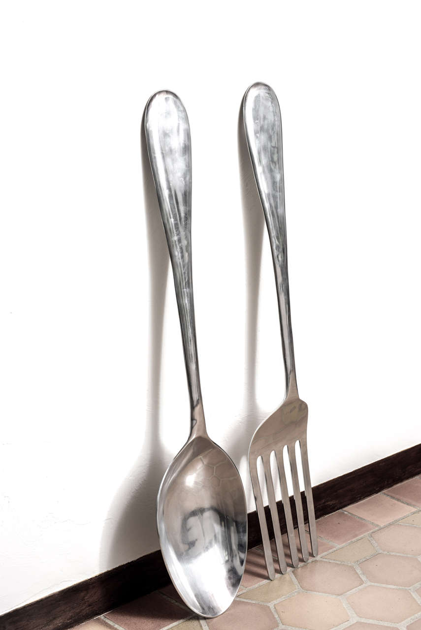 20th Century Large Fork And Spoon Wall Hanging For