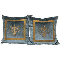 Antique Ottoman Empire Gold Metallic Embroidery B. VIZ Pillows