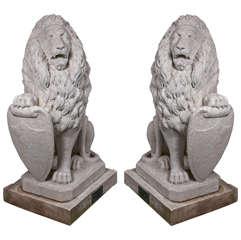 Carrara Marble Armorial Lions
