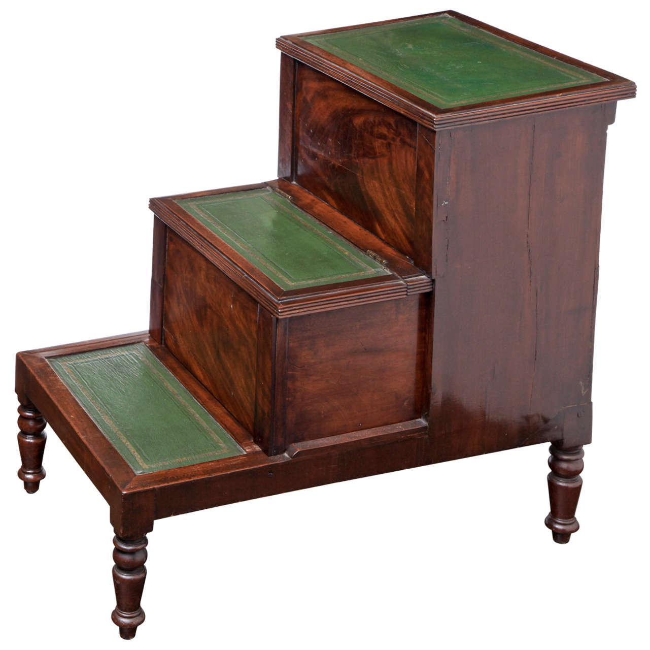 19th Century English Mahogany Bed Steps For