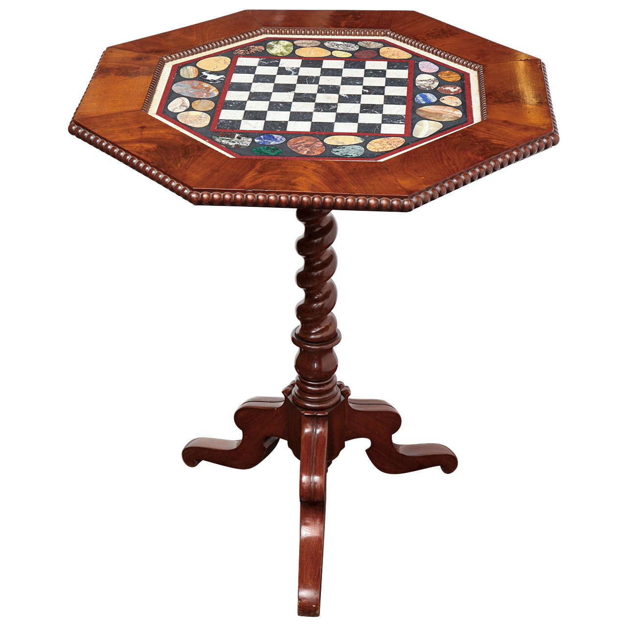 19th Century Tilt Top, Mahogany and Specimen Marble Games Table