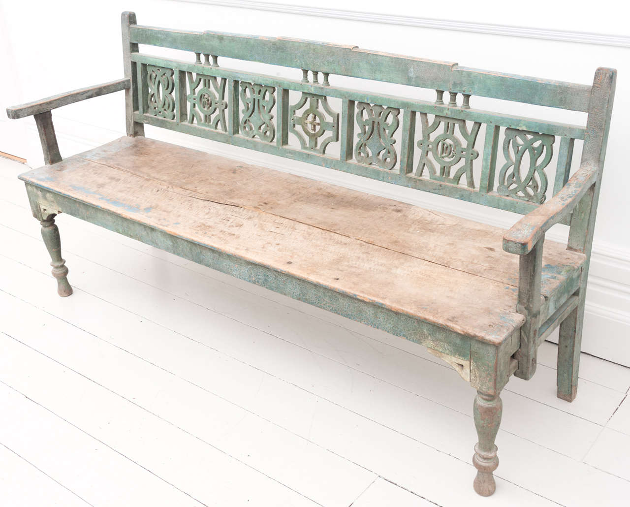 Early 19th C Painted Marriage Settle Bench At 1stdibs