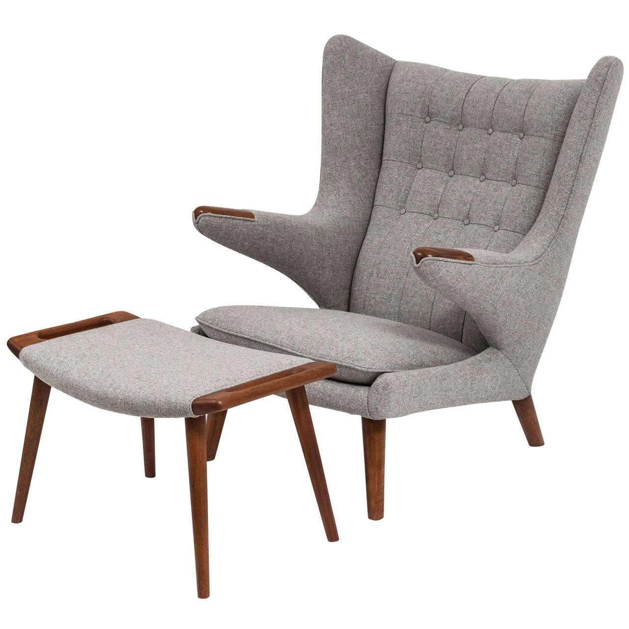 Hans J Wegner Papa Bear Chair And Ottoman At 1stdibs