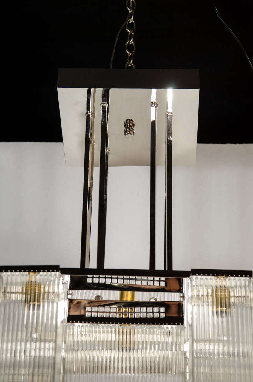 French Art Deco Style Chandelier in the manner of Josef Hoffmann For ...