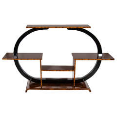 Exquisite Art Deco Etagere In Book-Matched Walnut & Black Lacquer
