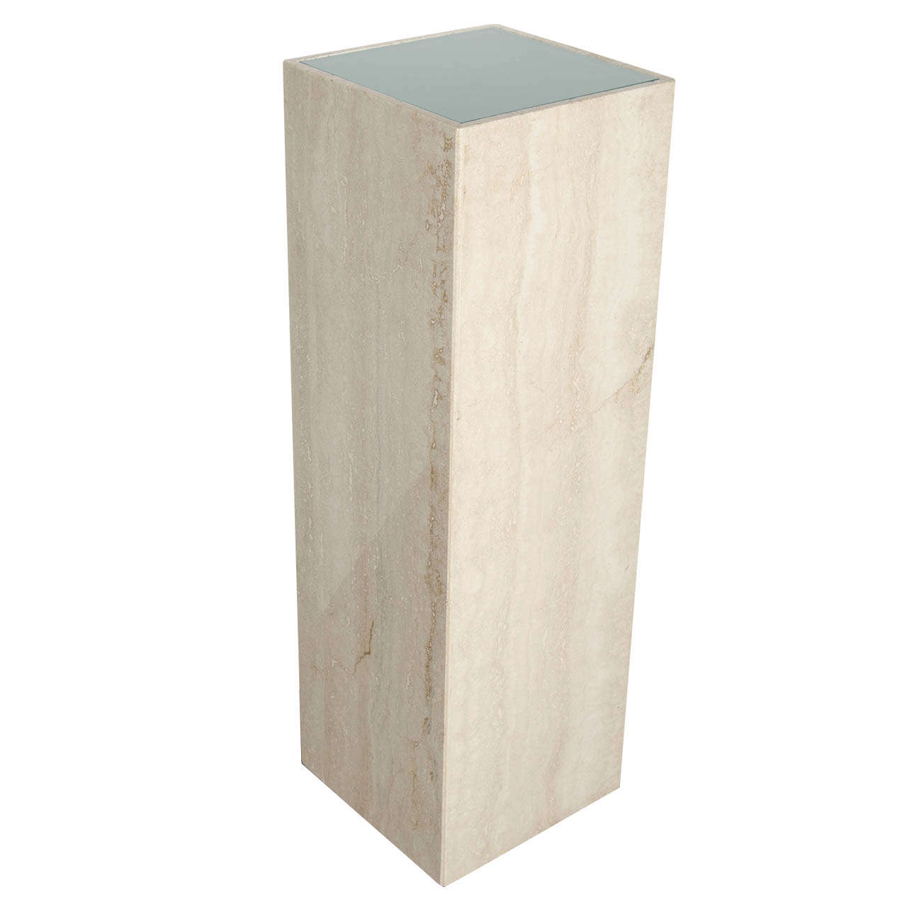 Mid Century Modernist Travertine Marble And Glass