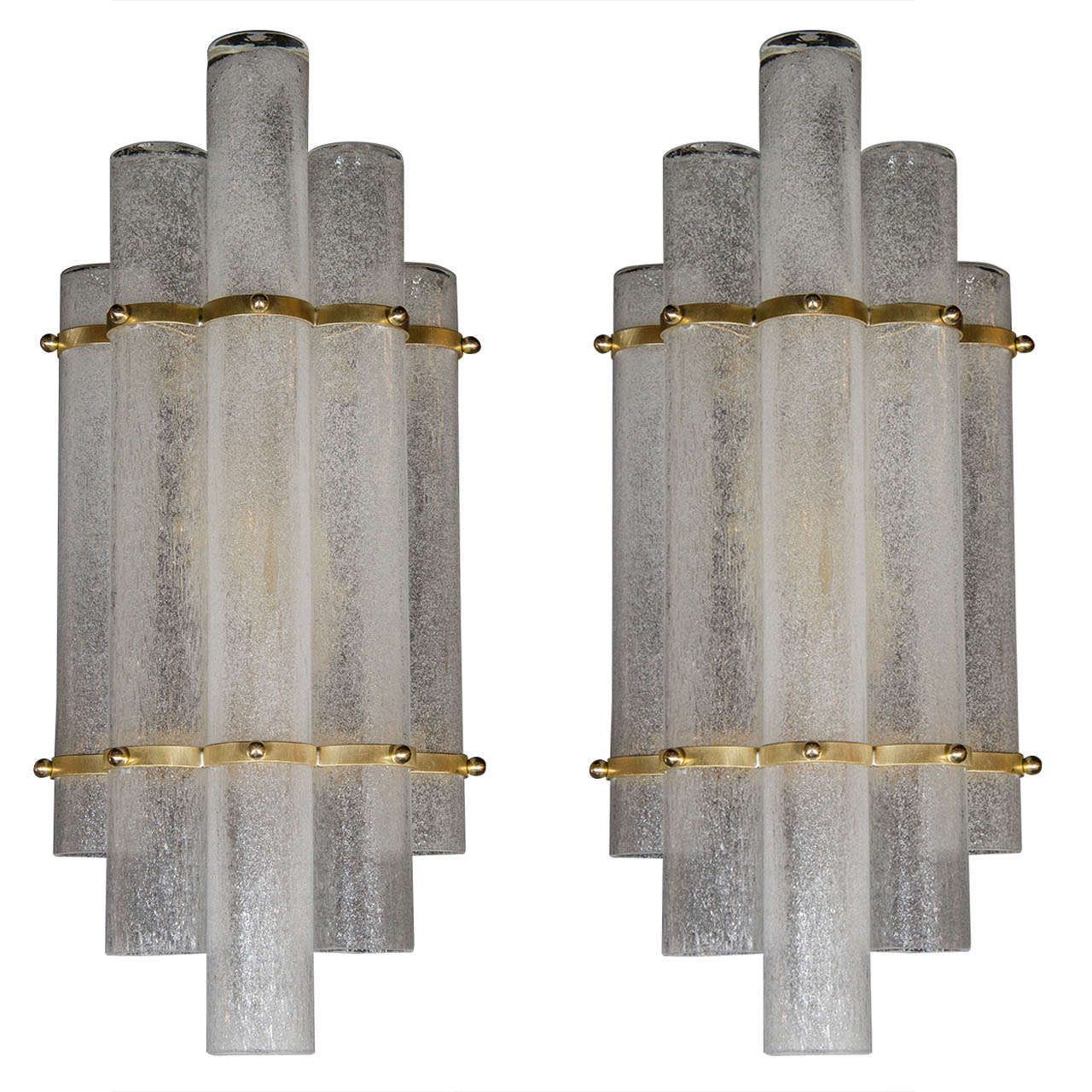 Sophisticated Pair of Mid-Century Modernist Pulegoso Glass Tubular Sconces