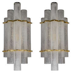 Sophisticated Pair of Mid-Century Modernist Pulegoso Glass Tubular Sconces