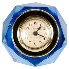 Mid-Century Modernist Pale Blue Crystal Clock