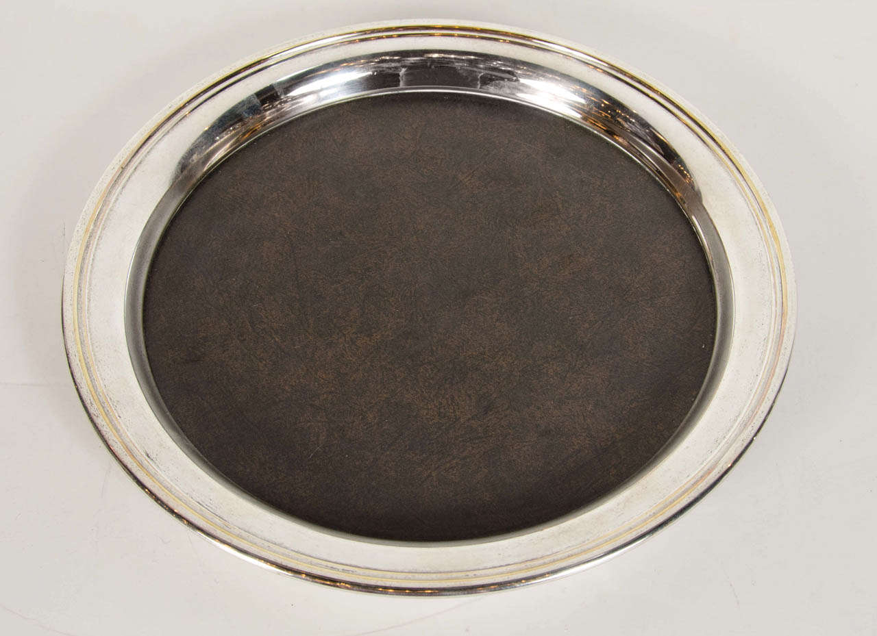 midcentury modern round serving or bar tray by crescent in  - midcentury modern round serving or bar tray by crescent in polished nickel