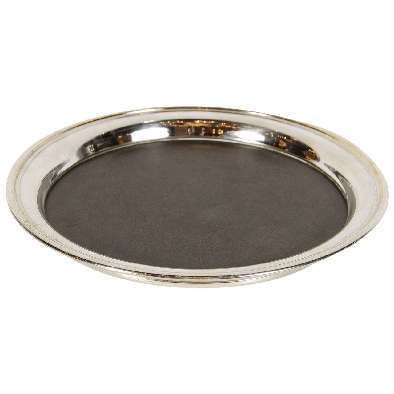 midcentury modern round serving or bar tray by crescent in polished nickel. midcentury modern round serving or bar tray by crescent in