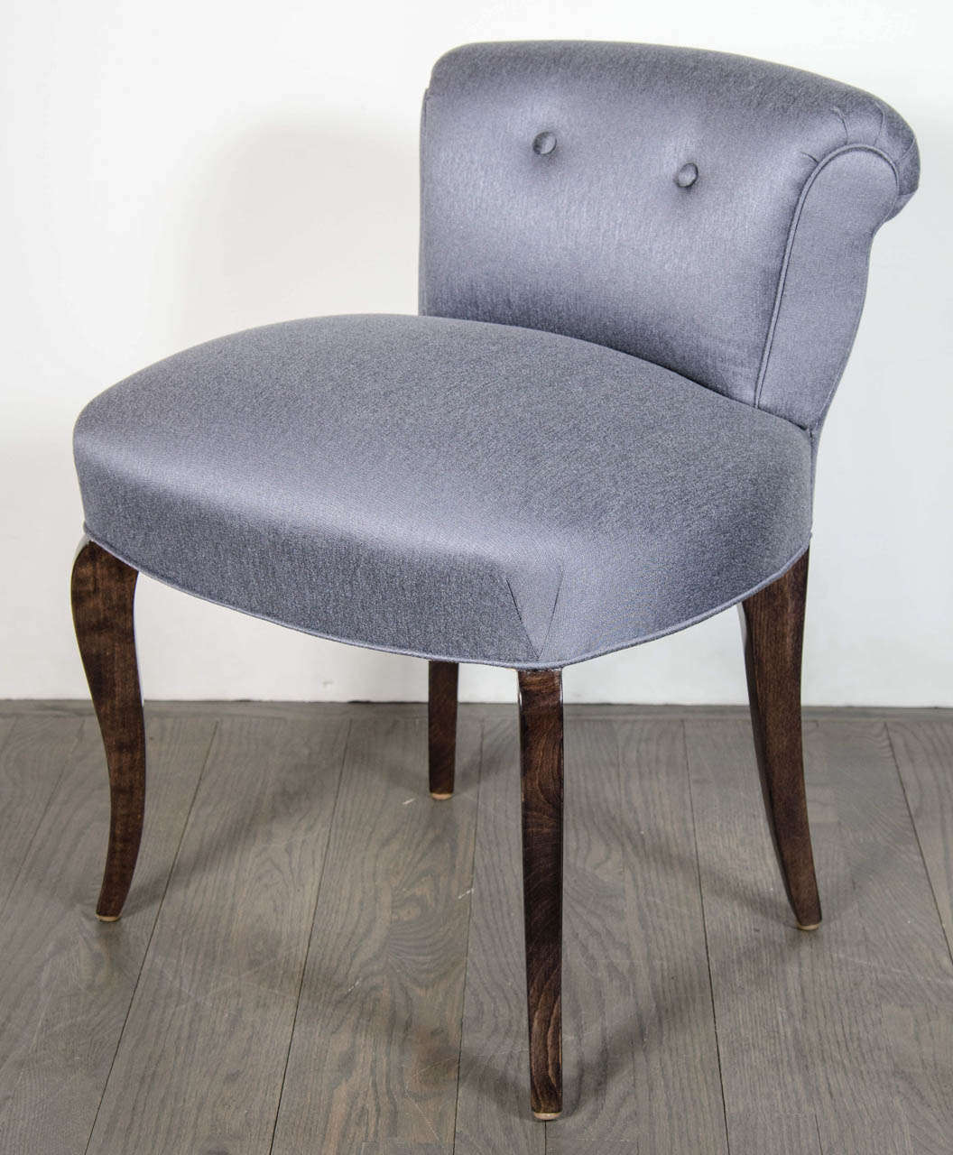 1940u0027s Hollywood Vanity Chair Upholstered In A Chic Platinum / Blue  Sharkskin. It Has A