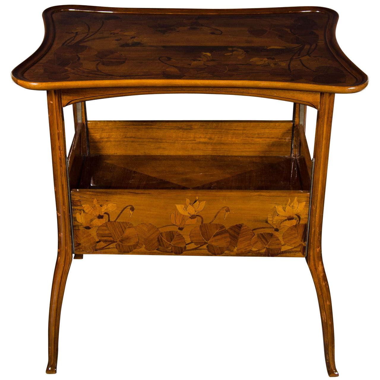 Exquisite Art Nouveau Carved Walnut Tea Table By Louis Majorelle 1