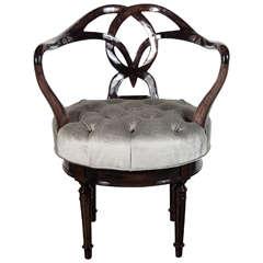 Mid-Century Modernist Woven Knot Design Swivel Chair / Stool