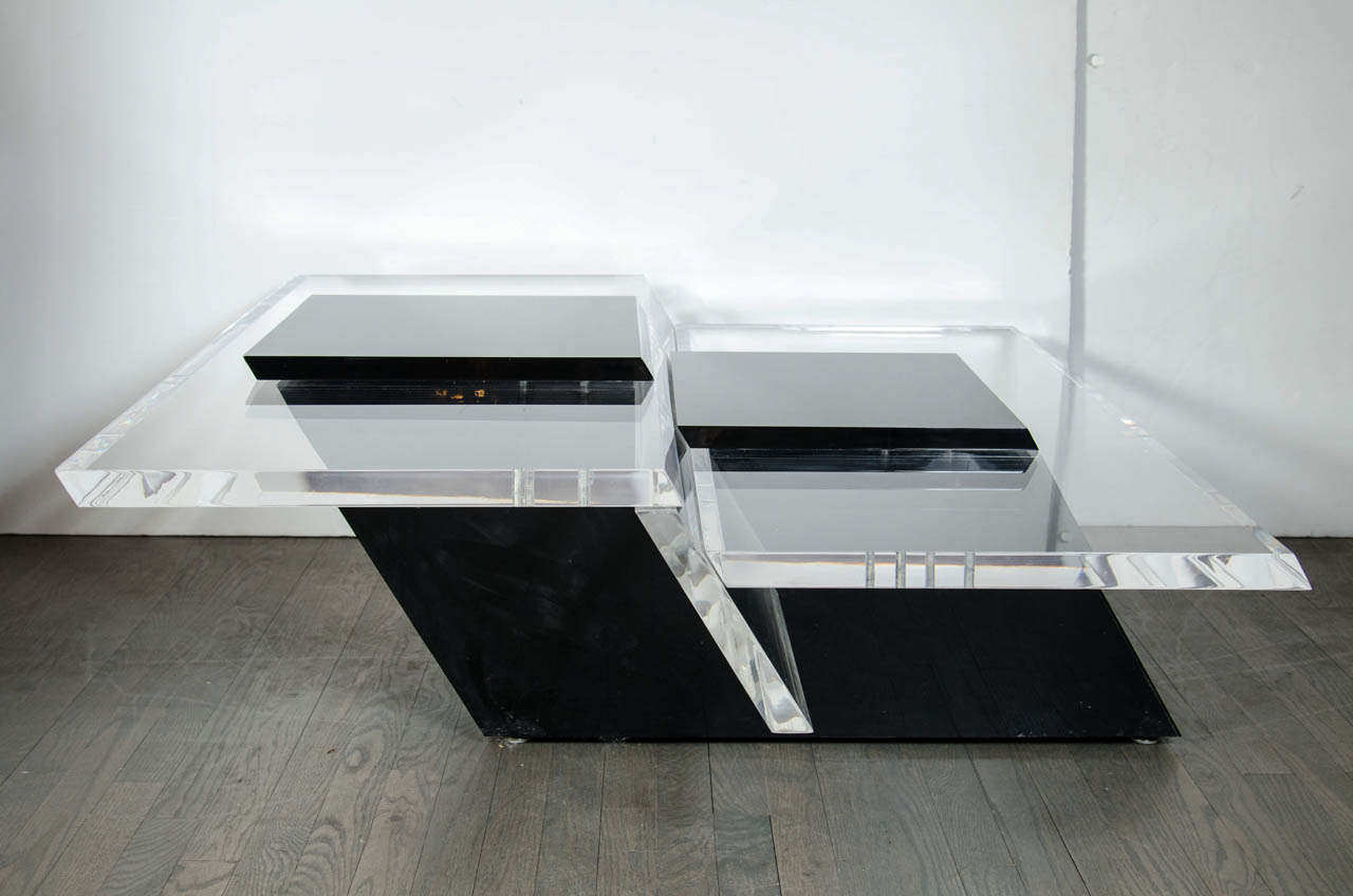 Ultra Chic Black And Clear Cantilever Thick Lucite Cocktail Table At 1stdibs