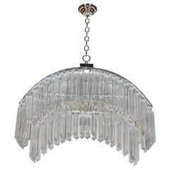 Mid-Century Modernist Arc Form Camer Crystal Chandelier