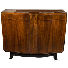 Art Deco Directoire Style Bow Fronted Cabinet in Book-Matched Walnut