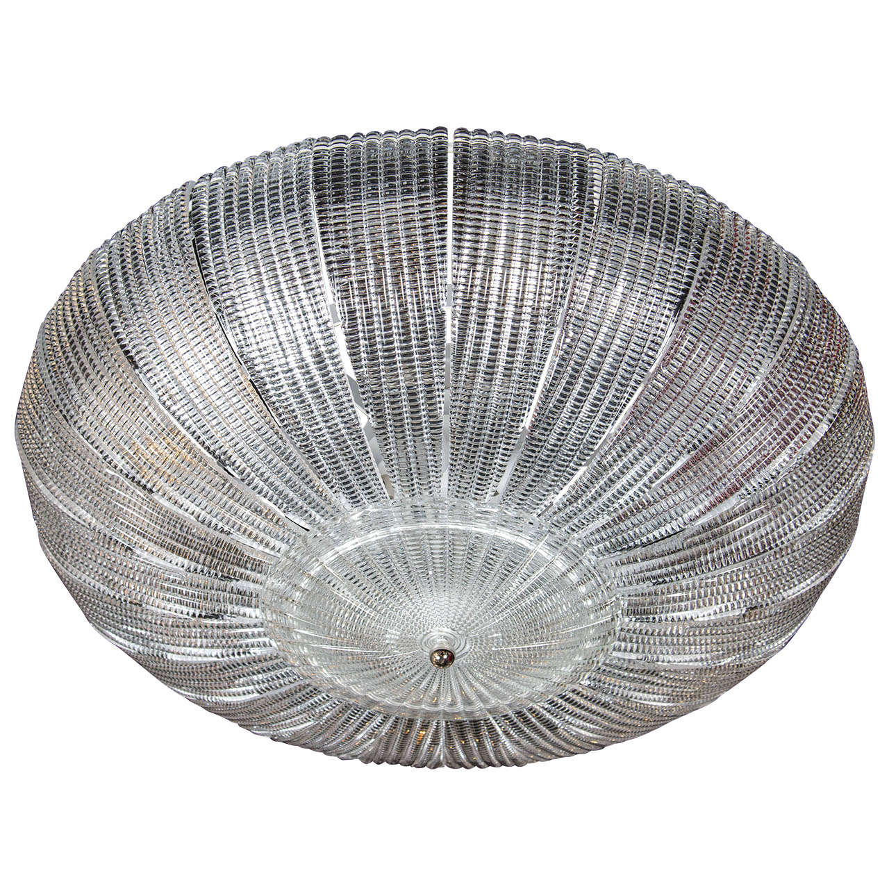 Exquisite Barovier & Toso Textured Glass Flush Mount Chandelier