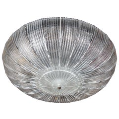 Modernist Handblown Murano Textured Translucent Glass Flush Mount Chandelier