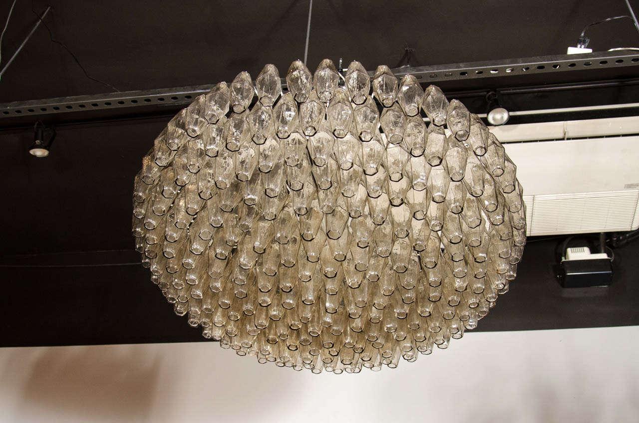 Italian Modernist Handblown Murano Smoked Glass Polyhedral Chandelier For Sale