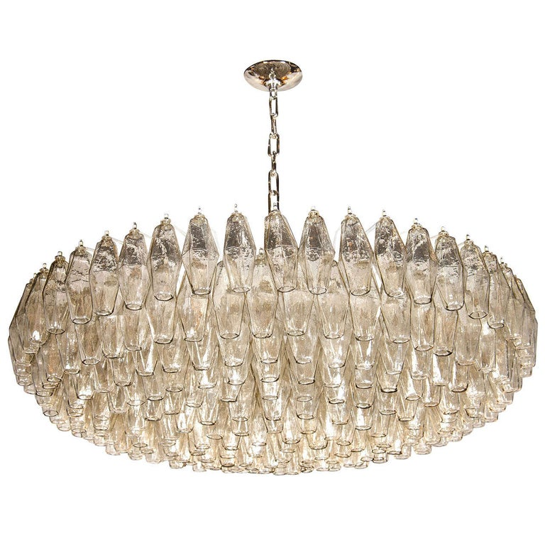 Modernist Handblown Murano Smoked Glass Polyhedral Chandelier For Sale