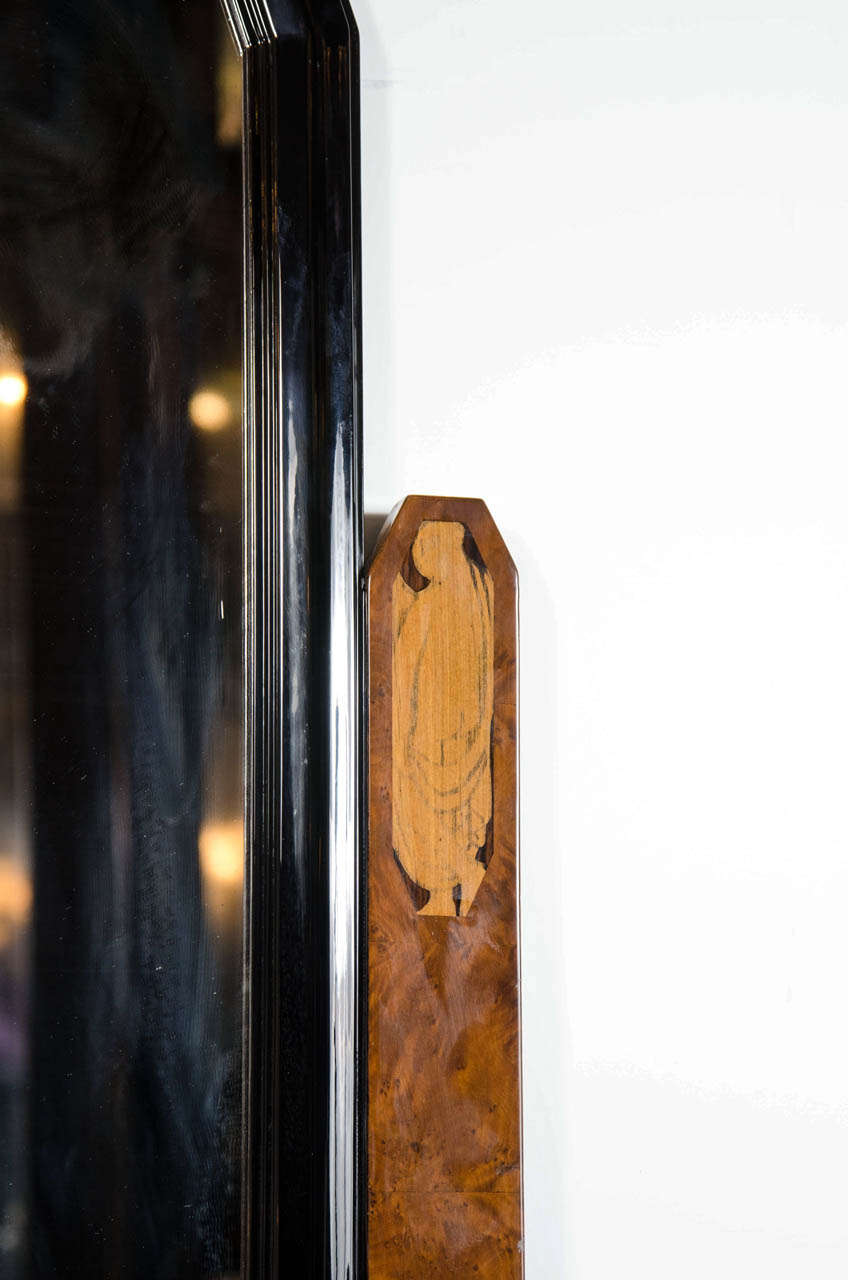 Stunning Art Deco Floor-Standing Vanity/Dressing Mirror in Burled Elm and Marble For Sale 1