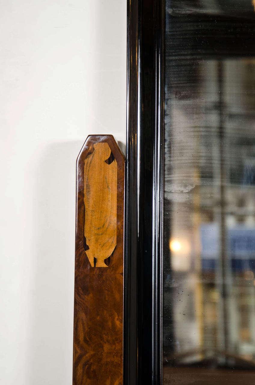 Stunning Art Deco Floor-Standing Vanity/Dressing Mirror in Burled Elm and Marble For Sale 2