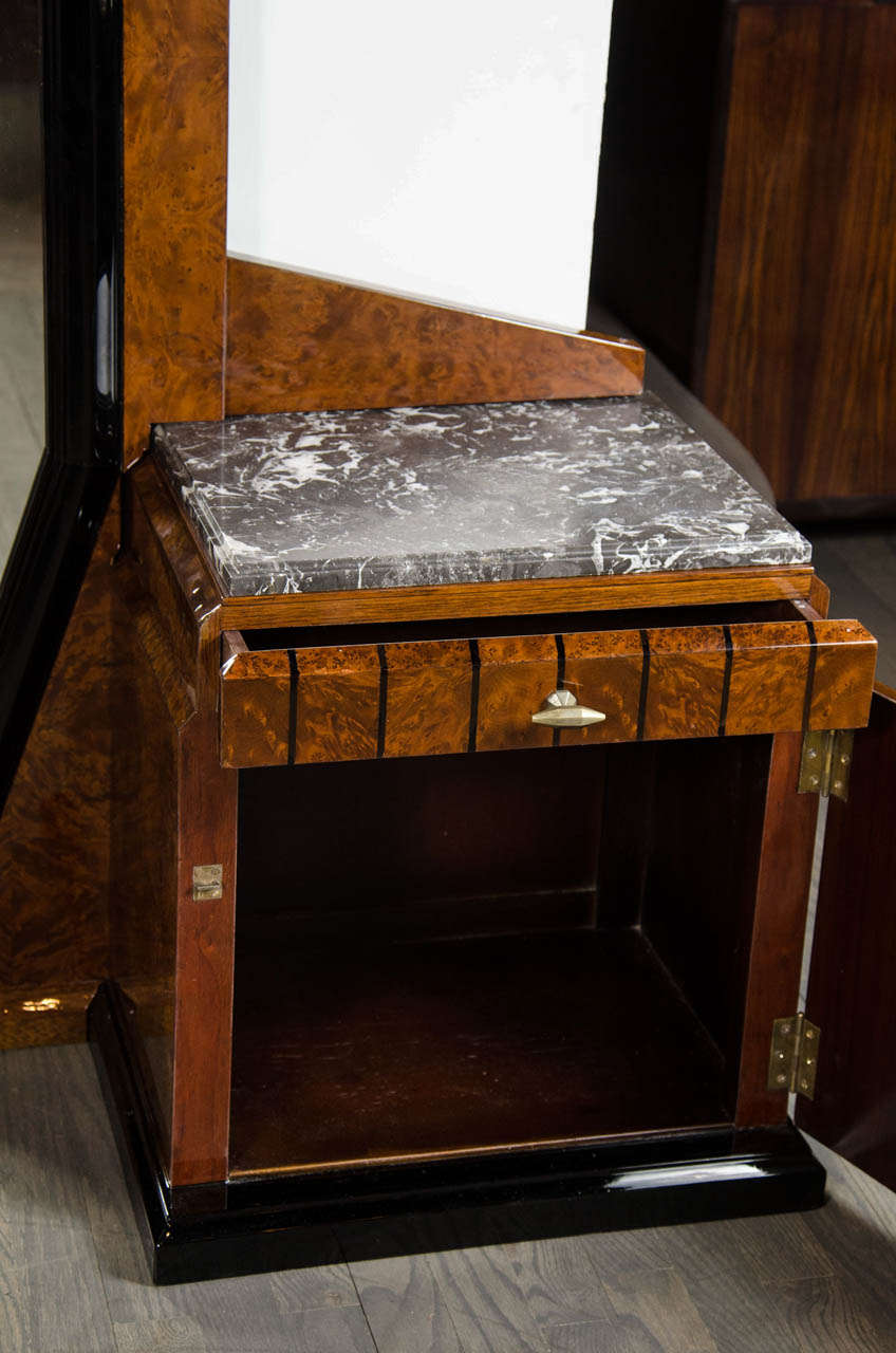 Stunning Art Deco Floor-Standing Vanity/Dressing Mirror in Burled Elm and Marble For Sale 3