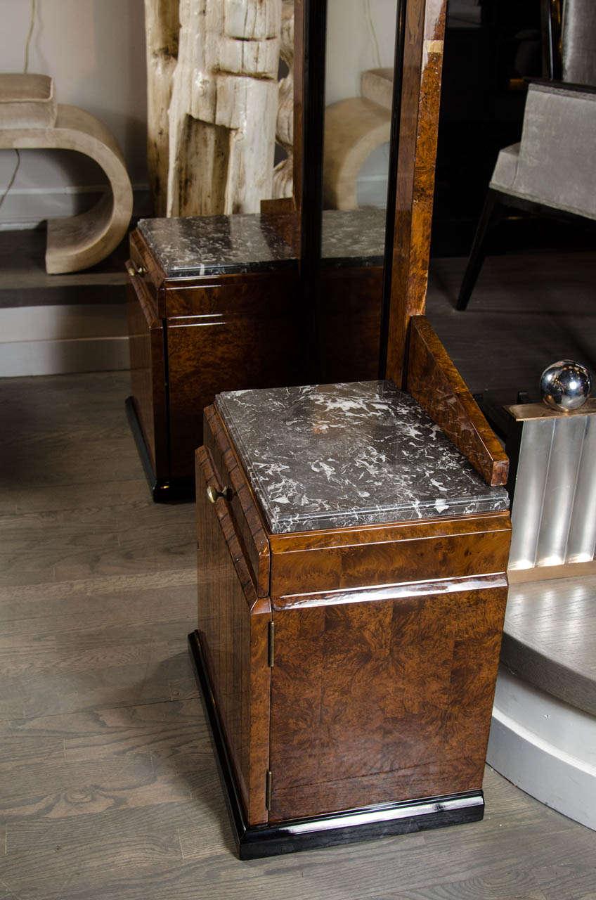 Stunning Art Deco Floor-Standing Vanity/Dressing Mirror in Burled Elm and Marble For Sale 4