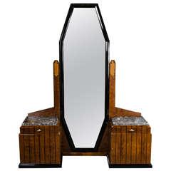 Stunning Art Deco Floor-Standing Vanity/Dressing Mirror in Burled Elm and Marble