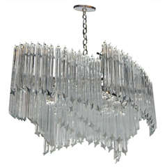 Mid-Century Modernist Asymmetrical Form Chandelier with Camer Crystals